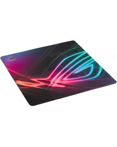 Vertical gaming mouse pad with large, gaming-optimized cloth surface, full-color anti-fray stitching and a non-slip base