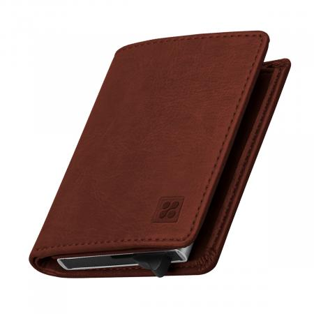 Promate RFIDWallet RFID Safe Leather Slim Wallet with Aluminum Card Case