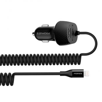 Promate VolTrip-i Car Charger with Lightning Coiled Cable