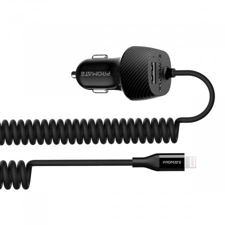 Promate VolTrip-C 3.4A Car Charger with USB-C Coiled Cable