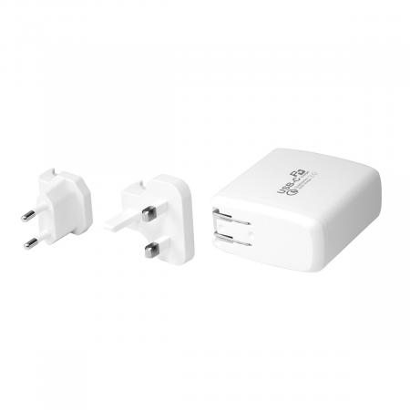 PROMATE PowerCore-60 Multi-Regional USB-C Wall Adapter with 60Watt Power Delivery and Quick Charge 3.0
