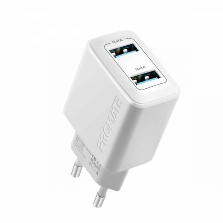 PROMATE BiPlug 12W Wall Charger with Dual USB Ports