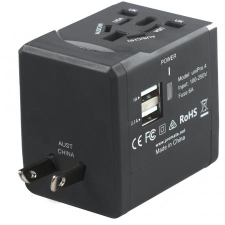 Promate UniPro4 Multi Regional Travel Adapter with Two USB Charging Ports