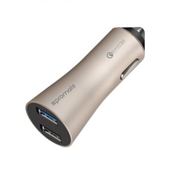 Promate Robust-QC3 Car Charger With Qualcomm Quick Charge 3.0 and Dual USB Port