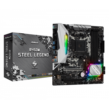 ASRock B450M Steel Legend Socket AM4 / AMD / DDR4 / Quad CrossFireX / SATA3 & USB3.1 / M.2 / MicroATX اللوحة الأم