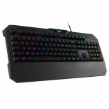 ASUS TUF Gaming K5 RGB keyboard with tactile Mech-Brane key switches, specialized coating for extended durability, spill-resistance and Aura Sync lighting