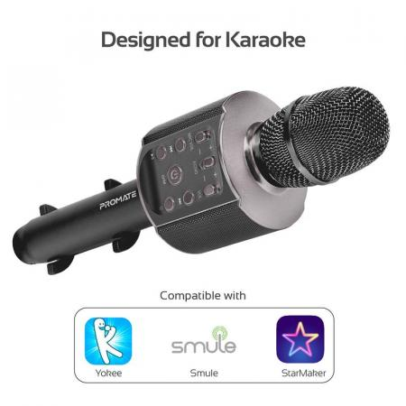 Promate VocalMic-4 Multi-Purpose Wireless Karaoke Microphone with LED Light and Phone Holder