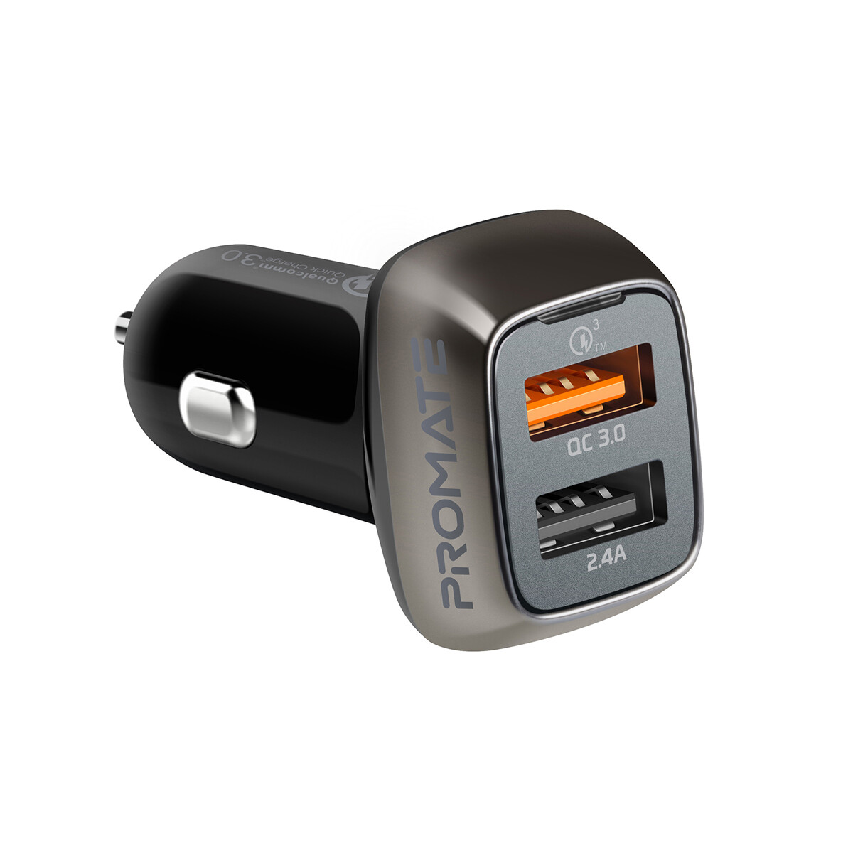 Promate Scud-30 QC 3.0 Car Charger with 30 Watt Dual USB Ports