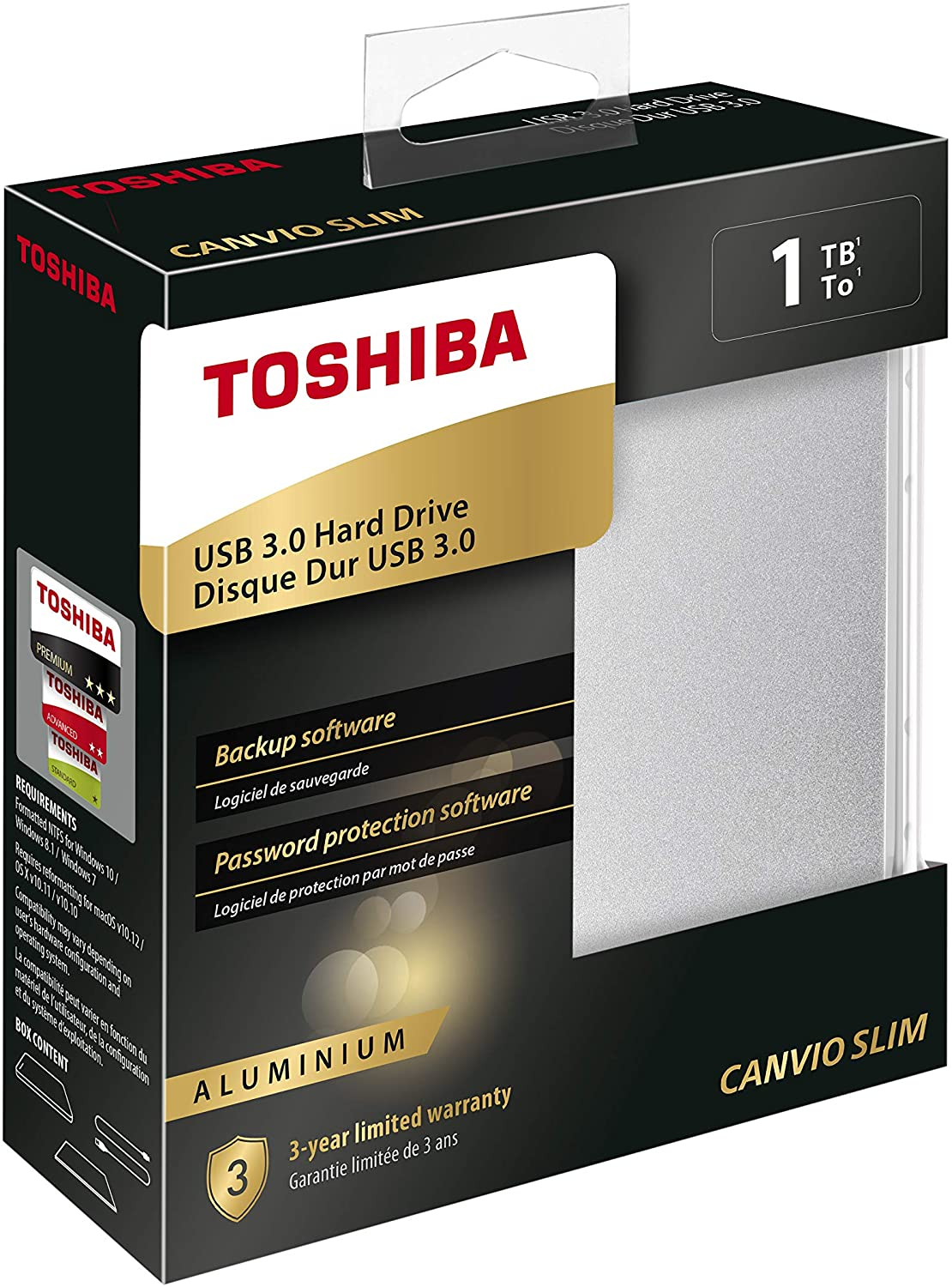 هارد ديسك خارجي Toshiba Canvio Slim 1TB Aluminium Portable External Hard Drive USB 3.0 فضي